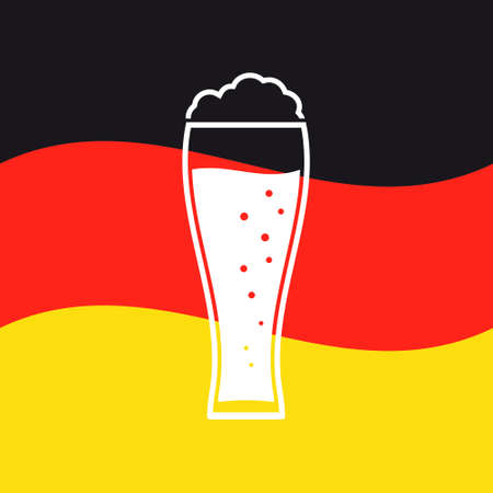 Oktoberfest poster. Beer glass icon on Germany flag background.