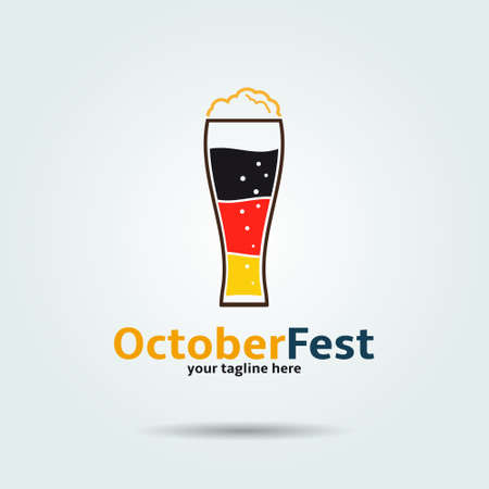 Oktoberfest . Beer glass icon in the shape of germany flag.