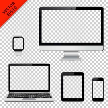 Monitor komputerowy, laptop, tablet, telefon komórkowy i inteligentny zegarek z przezroczystego ekranu. Pojedynczo na przezroczystym tle. ilustracja. Ilustracje wektorowe
