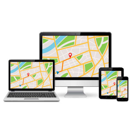 laptop mobile: Computer monitor, laptop, tablet pc and mobile phone with GPS map on screen. Isolated on white background. Illustration