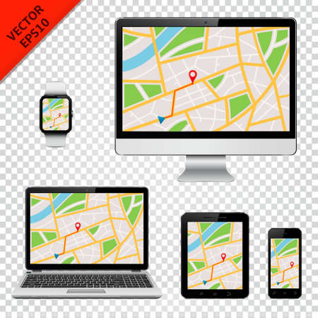 Digital devices with GPS map on screen. Isolated on transparent background.