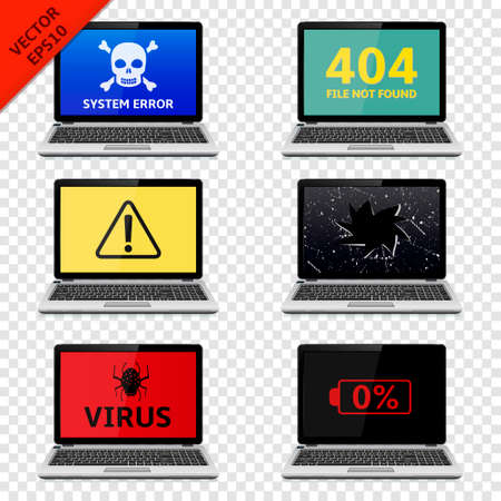 fatal error: Error signs on laptop screens isolated on transparent background Illustration