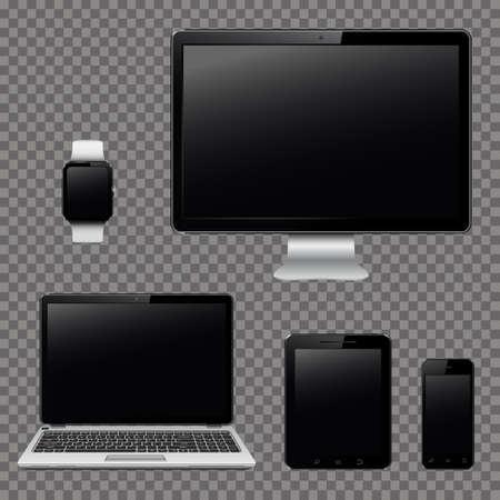透明な背景に分離された現代のデジタル機器