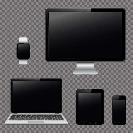 Modern digital devices isolated on transparent background