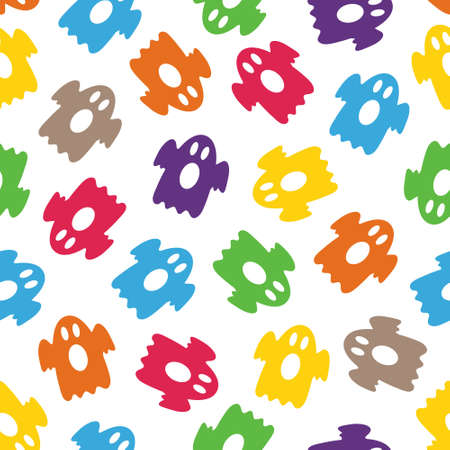 Seamless pattern with colorful ghosts Illustration