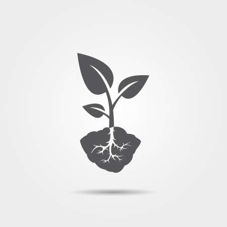 Sprout with root icon
