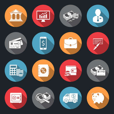 Finance icons with long shadow Illustration