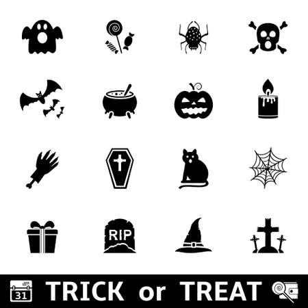 Set of halloween icons on a white background