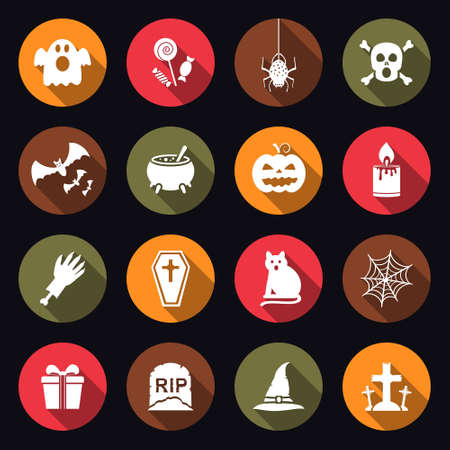Halloween icons with long shadow Illustration