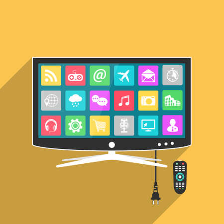 Smart TV with remote control, flat style illustration