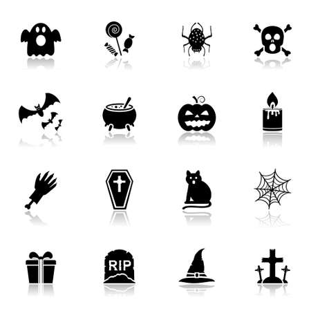 Halloween icons with reflection
