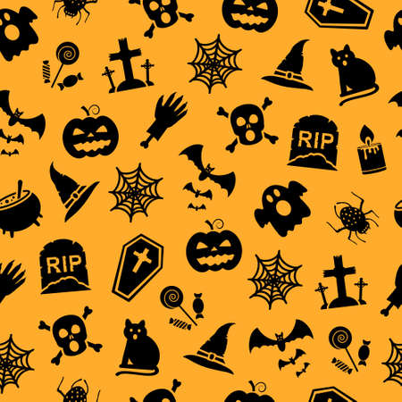 gravestone: ector seamless pattern for Halloween. Pumpkin, bat, scull, gravestone and different halloween shapes and objects.