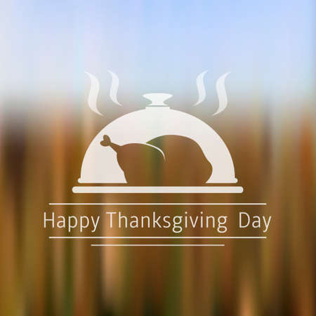 Thanksgiving Day blurred background with turkey sign