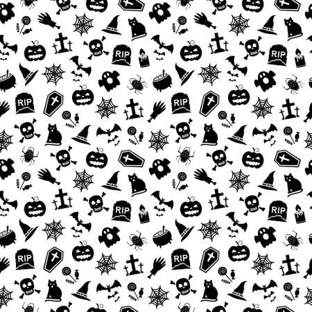 Halloween seamless background with different religious objects. illustration.