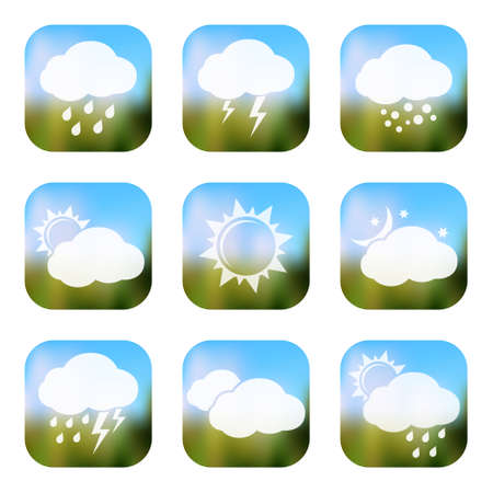 climatology: Weather apps icons, web buttons Illustration