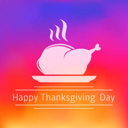 plackard: Thanksgiving Day greeting card with turkey sign on blurred background Illustration