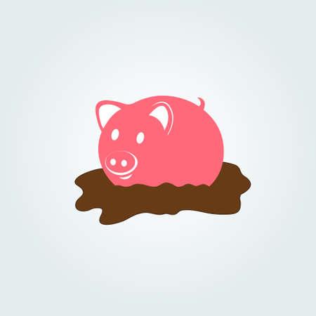 Cute smile pink pig in the mud. illustration. Illustration