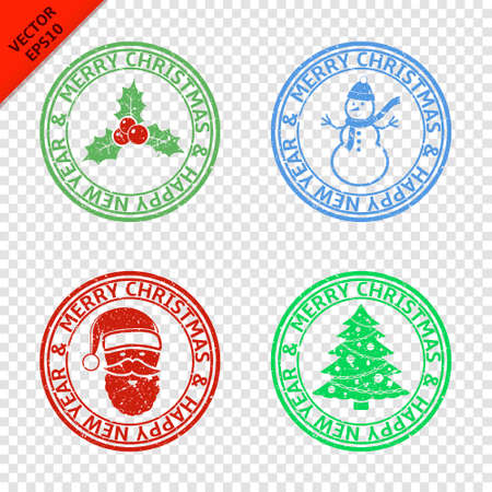 hollyberry: Merry Christmas stamps with art Christmas elements isolated on transparent background