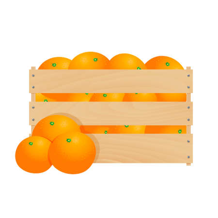 Fresh tangerines in a wooden crate