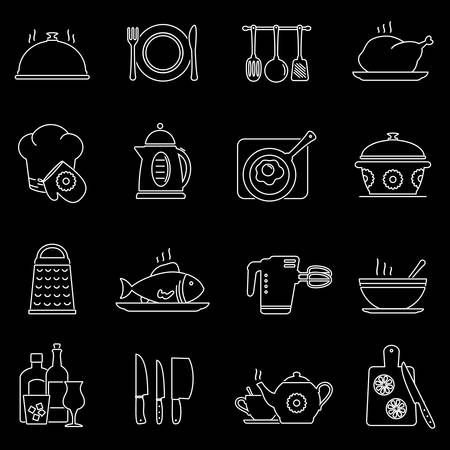 egg cups: Set of line cooking, kitchen tools and food icons