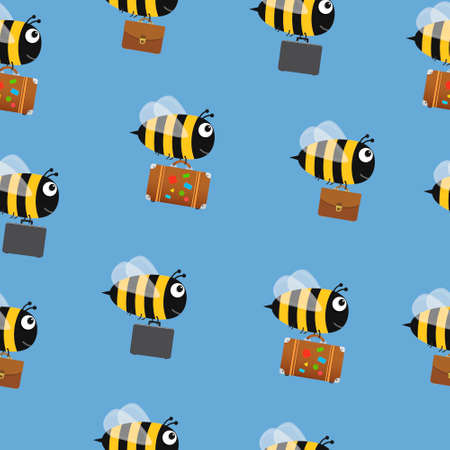 Flying bees with travel bag and briefcases. Illustration