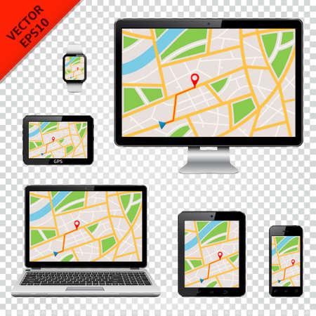 Dispositivos digitales con mapa GPS en pantalla.
