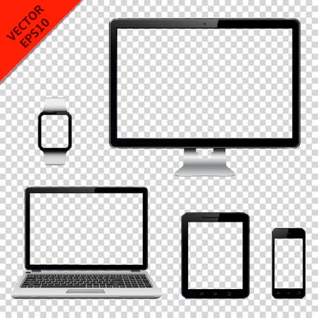 Computer monitor, laptop, tablet pc, mobile phone and smart watch with transparent screen. Isolated on transparent background. Vector illustration.