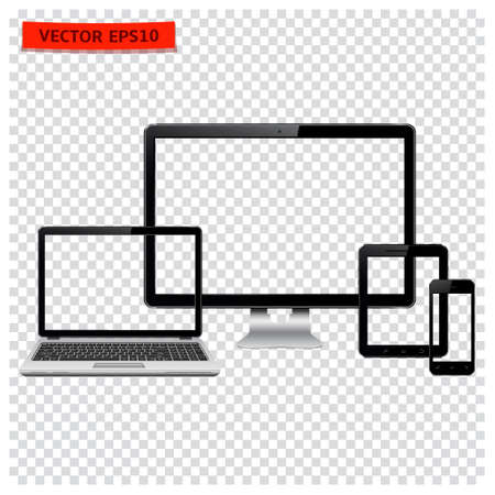Desktop computer, laptop, tablet and mobile phone with transparency. Vector illustration.