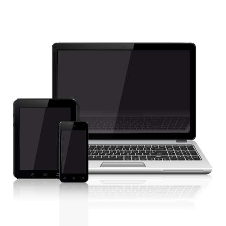 responsive design: Modern laptop, mobile phone, tablet on a white background