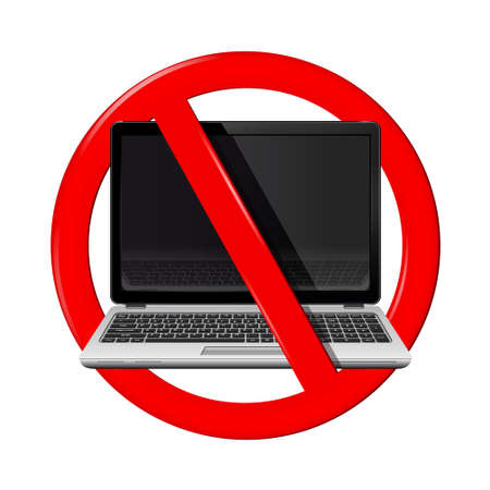 restricted area sign: No laptop area