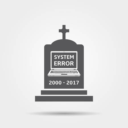 old notebook: Tombstone for dead laptop - vector icon. Illustration