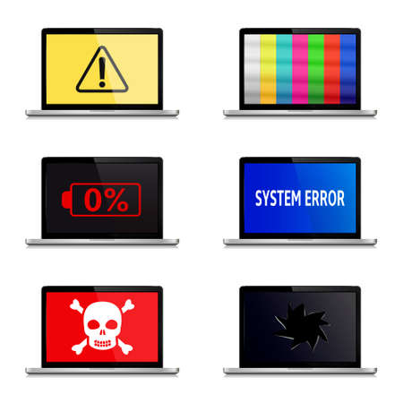 Error signs on laptop screens isolated on white background.