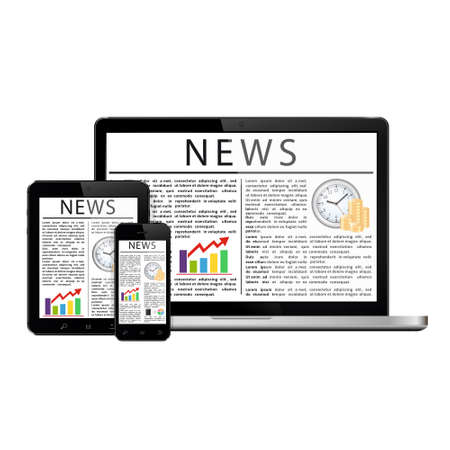articles: News articles on digital devices screens Illustration