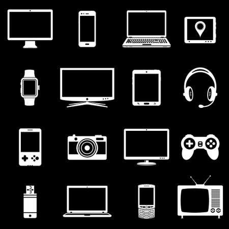 pc icon: Abstract vector set of digital devices and electronic gadgets icons