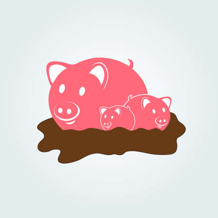 Mother pig with little pigs in a puddle