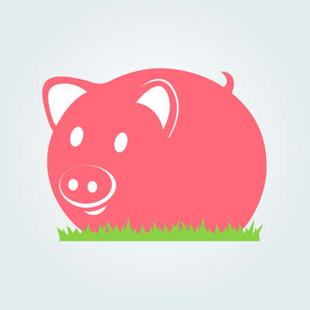 pigsty: Piggy on the grass icon Illustration