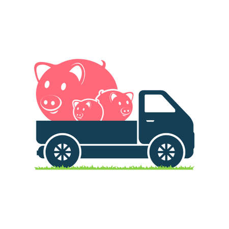 porker: A truck carries pigs Illustration