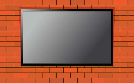 contrast resolution: Modern TV with blank screen on brick wall. Computer monitor display mockup. Blank television template.