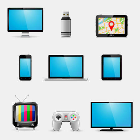Electronic devices and multimedia gadgets icons. Vector illustration.
