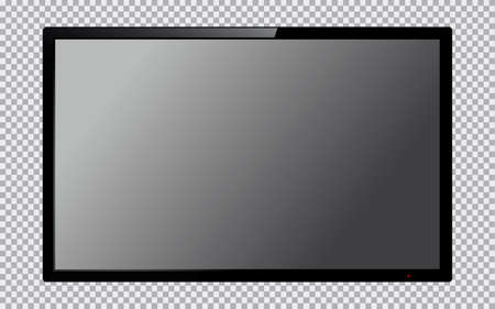 Realistic TV screen. Computer monitor display mockup. Blank television template. Vector illustration. Illustration