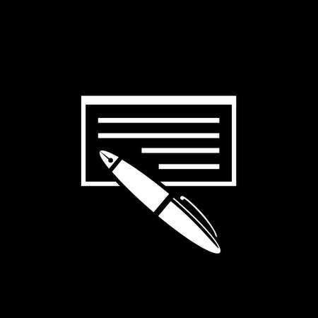 Bank check with pen icon. Vector illustration. Illustration