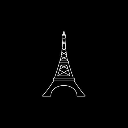french culture: Eiffel tower line icon. Vector illustration.,