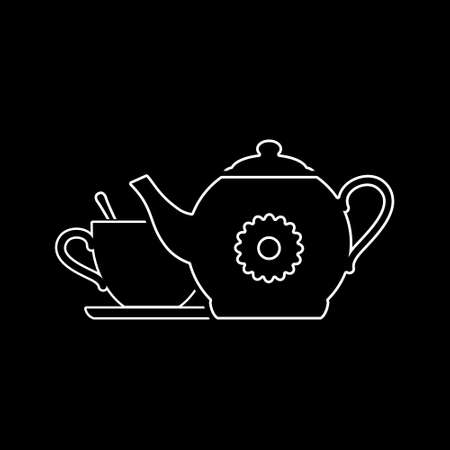 Teapot with cup icon. Vector illustration.