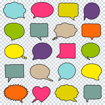 Hand drawn speech bubbles isolated on transparent background