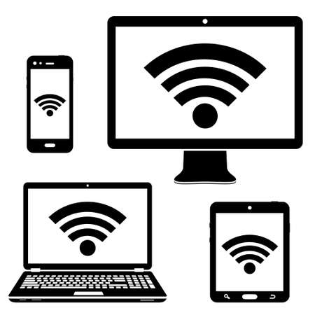 Computer display, laptop, tablet and smartphone icons with wifi internet connection symbol Vectores