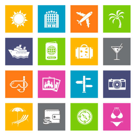 Summer and travel flat icons set. Vector illustration