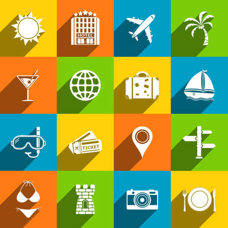 Travel icons set in flat design style. Vector illustration
