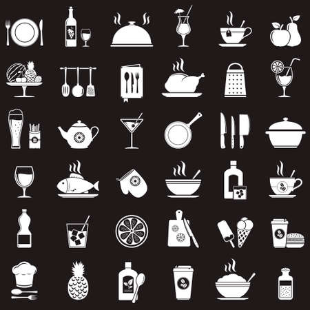 Kitchen tools, food and drinks icons set Illustration