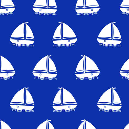 Vector seamless pattern with yachts
