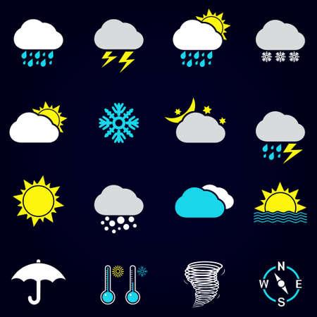 Modern weather icons set. Flat vector symbols on dark background.